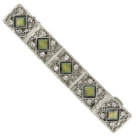 1928 Jewelry: 1928 Jewelry - Silver-Tone Crystal and Mother of Pearl Bar Barrette