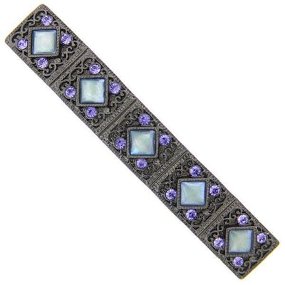 Fashion Jewelry - Black-Tone Purple Crystal and Mother of Pearl Barrette