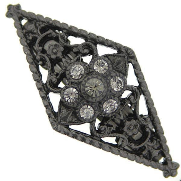 Black-Tone Black Diamond Crystal Barrette