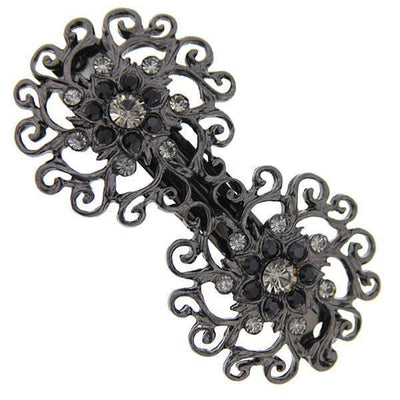 Black Tone Black Diamond Crystal Barrette