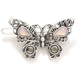 1928 Jewelry: 1928 Jewelry - Silver-Tone Faux Opal and Black Diamond Crystal Butterfly Barrette