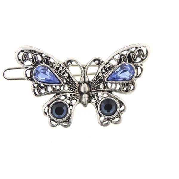 Silver-Tone Light Sapphire and Montana Blue Crystal Butterfly Barrette