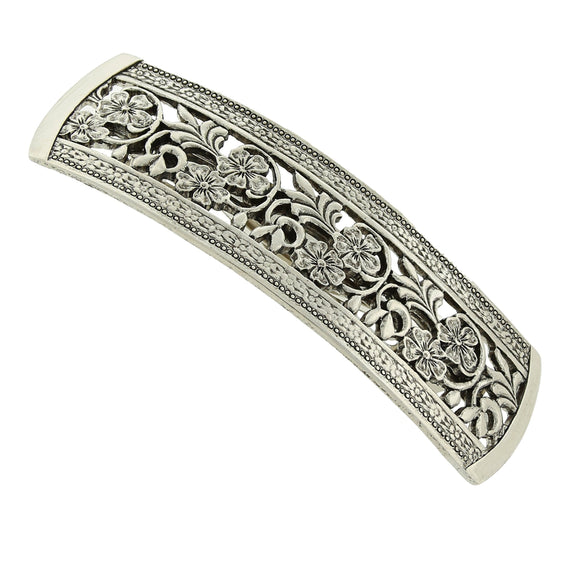 1928 Jewelry - Silver-Tone Floral Patterned Bar Barrette