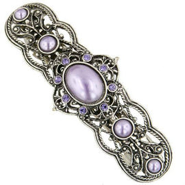 Silver Tone Purple Stone and Crystal Filigree Hair Barrette