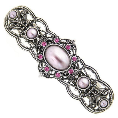 Silver-Tone Pink Stone and Swarovski Crystal Filigree Barrette
