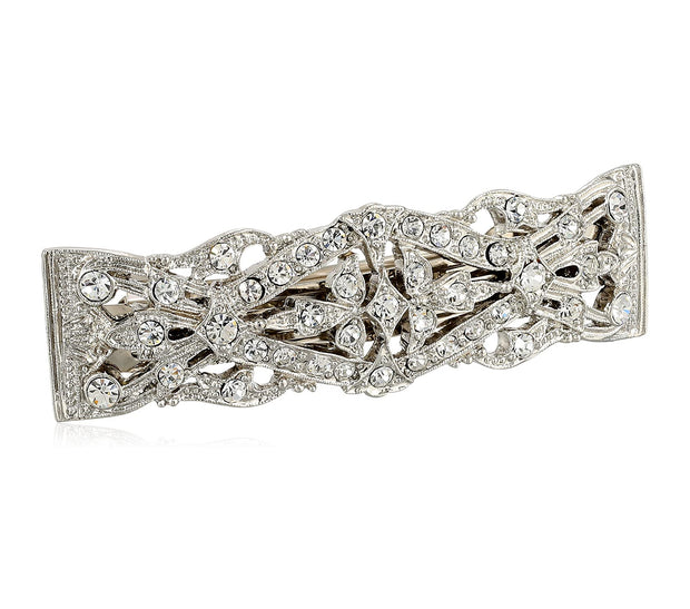 1928 Jewelry Silver-Tone Crystal Bar Barrette