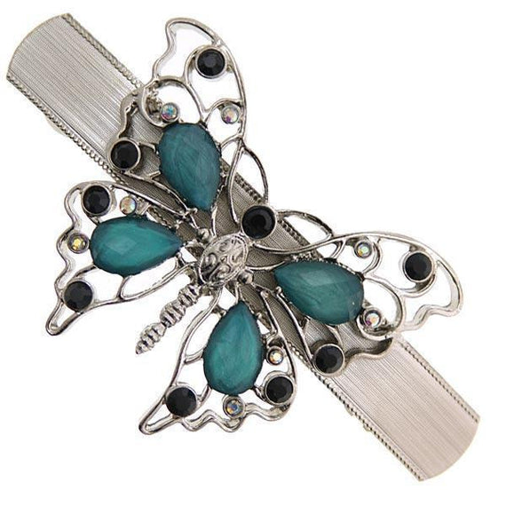 Silver-Tone Black Crystal with Turquoise Color Butterfly Barrette
