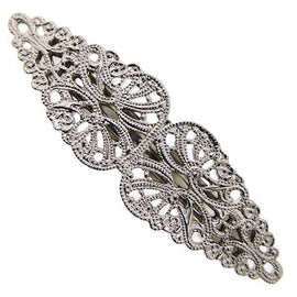 1928 Jewelry: 1928 Jewelry - Silver-Tone Victorian-Inspired Filigree Hair Barrette