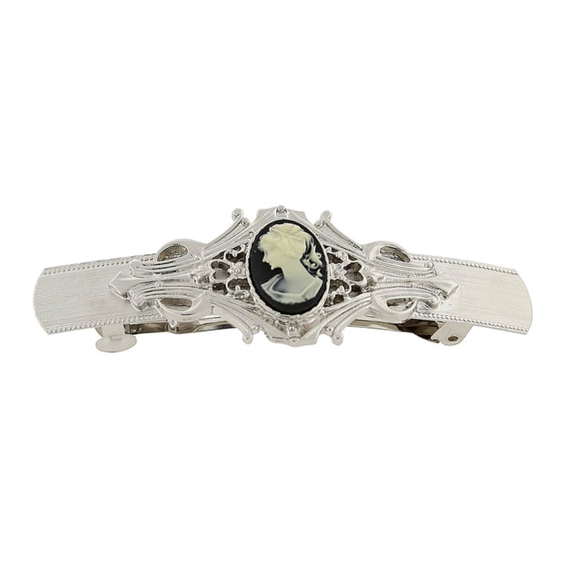 Silver-Tone Black And Ivory Cameo Oval Bar Barrette