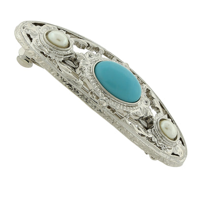 Silver-Tone Turquoise Color and Costume Pearl Stone Barrette