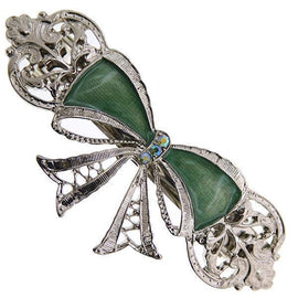 Silver-Tone Crystal AB with Green Enamel Bow Barrette