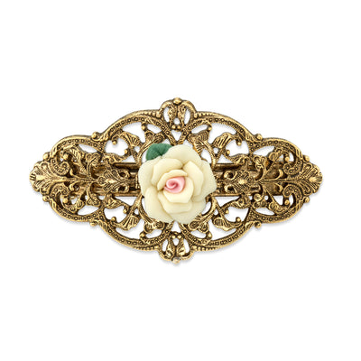 Gold Tone Ivory Porcelain Rose Barrette