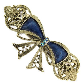 Gold-Tone Light Sapphire Crystal AB and Blue Enamel Bow Barrette