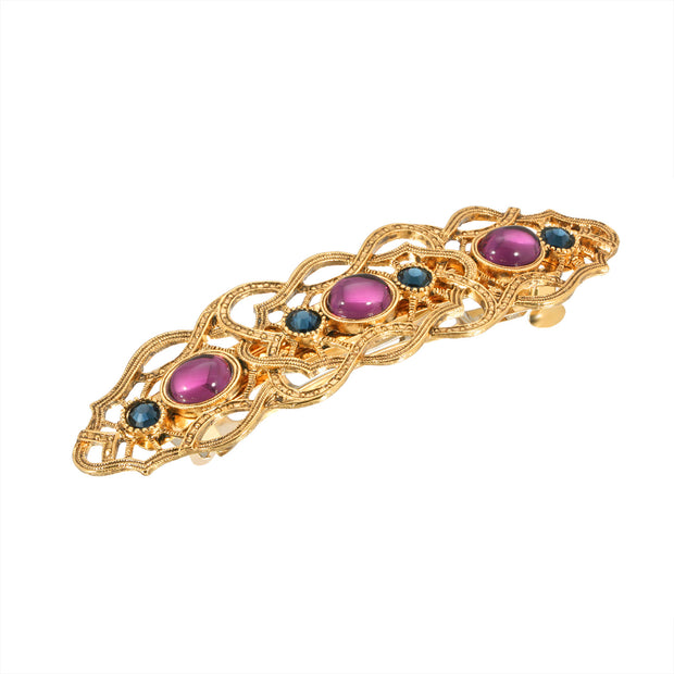 Gold-Tone Purple And Montana Blue Crystal Barrette