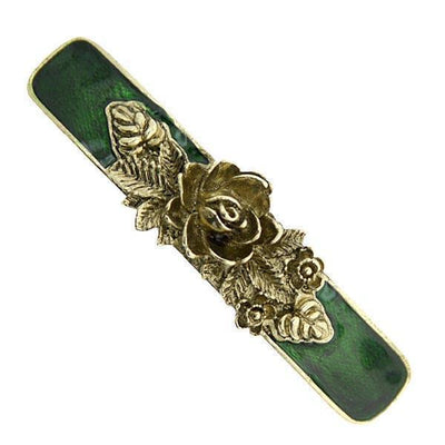Gold-Tone Green Enamel Flower Bar Barrette