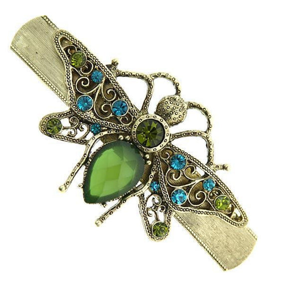 Fashion Jewelry - Gold-Tone Green and Blue Crystal Bee Barrette