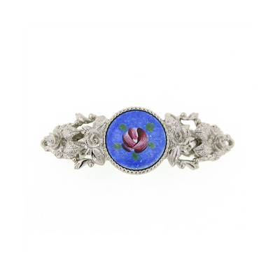 Silver Tone Round Blue Color And Pink Flower Decal Barrette