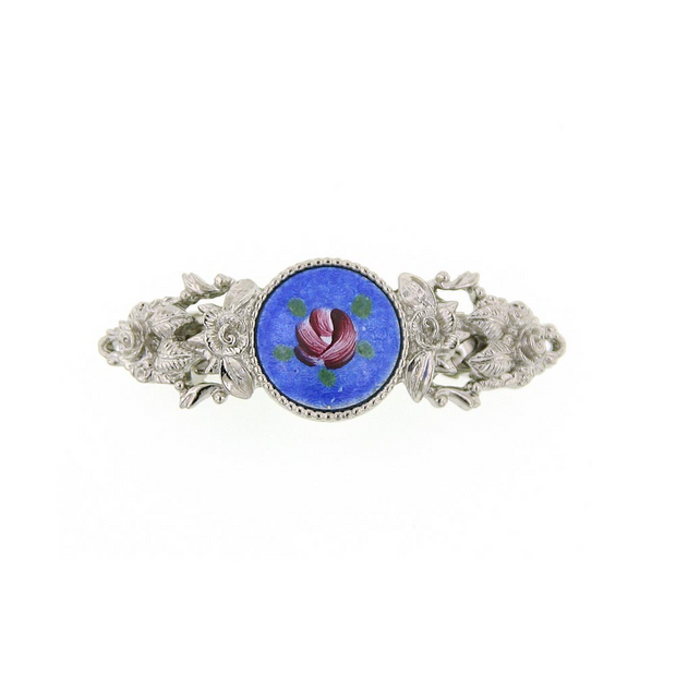 Silver-Tone Round Blue Color And Pink Flower Decal Barrette
