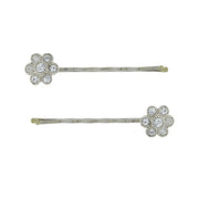 1928 Jewelry Crystal Flower Hair Bobby Pin Set