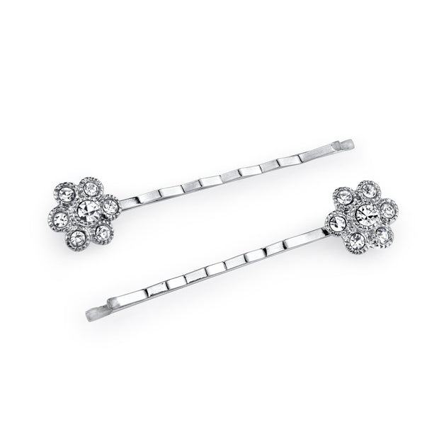 Silver Tone Crystal Flower Bobby Pin Set
