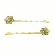 Gold-Tone Light Topaz Color Crystal Flower Bobby Pins Set