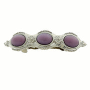 Silver-Tone Purple Moonstone Barrette