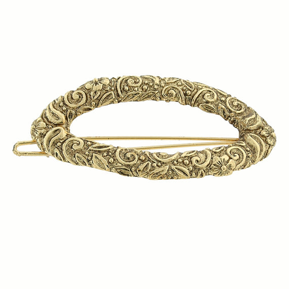 Fashion Jewelry - Gold-Tone Oval Hair Barrette