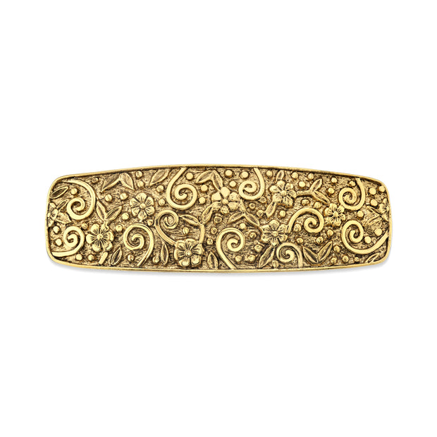 Gold-Tone Floral Hair Barrette