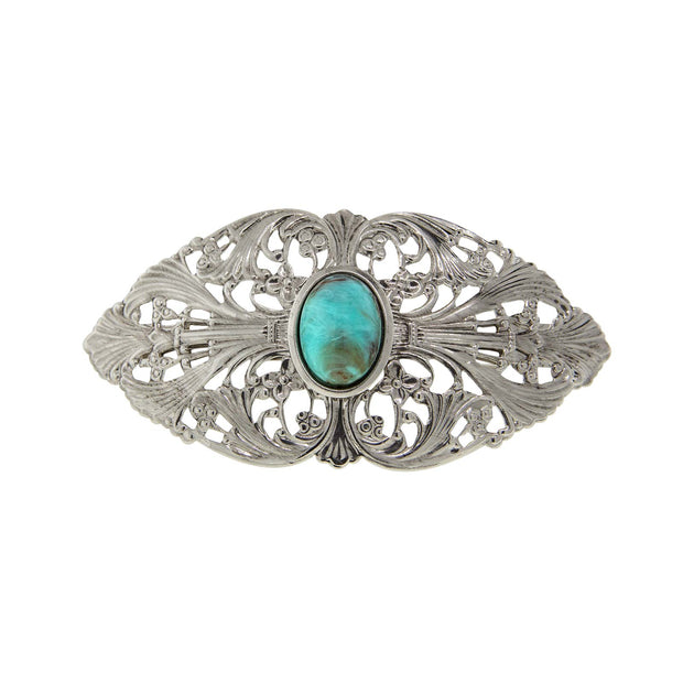 Silver Tone Oval Turquoise Color Oval Stone Large Hair Barrette