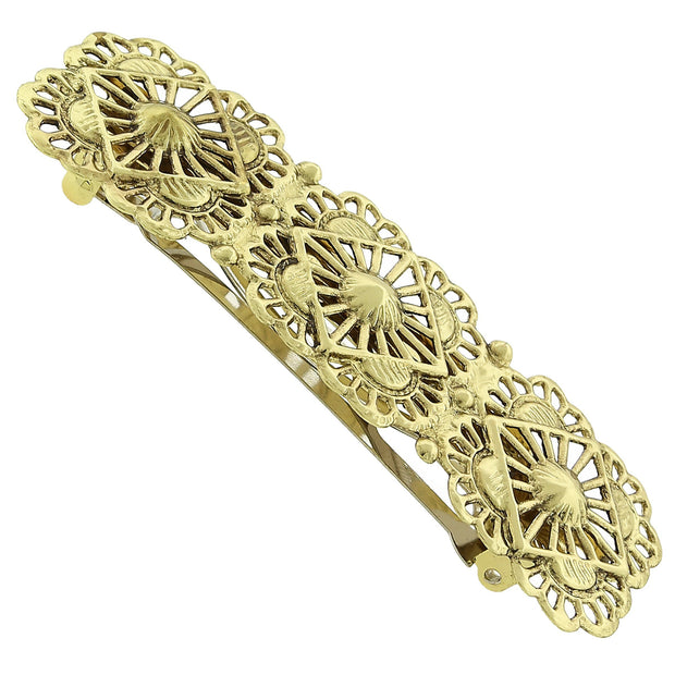 Gold Tone Filigree Hair Barrette