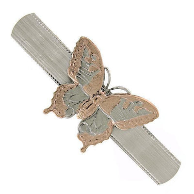 Silver-Tone and Copper-Tone Butterfly Hair Barrette