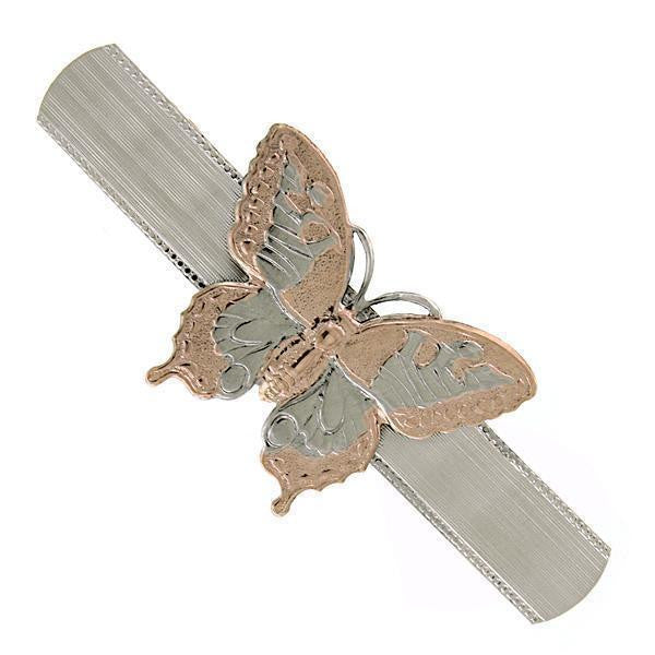 Silver Tone And Copper Tone Butterfly Hair Barrette