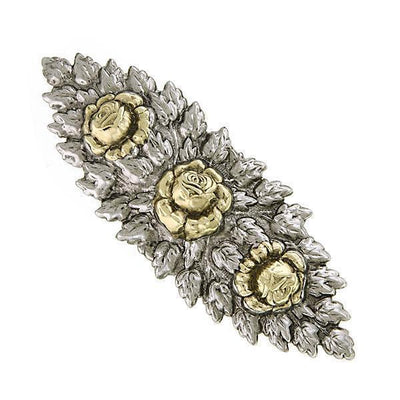 Silver-Tone and Gold-Tone Floral Hair Barrette