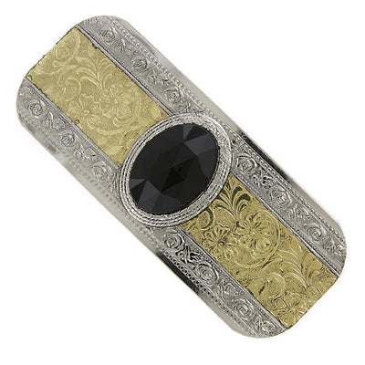 Silver-Tone And Gold-Tone Black Faceted Hair Barrette