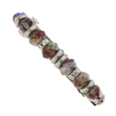 Silver-Tone Purple Ab Rich Cut Bead With Crystal Hair Barrette