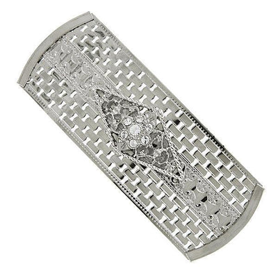 Silver Tone Crystal Large Rectangle Barrette