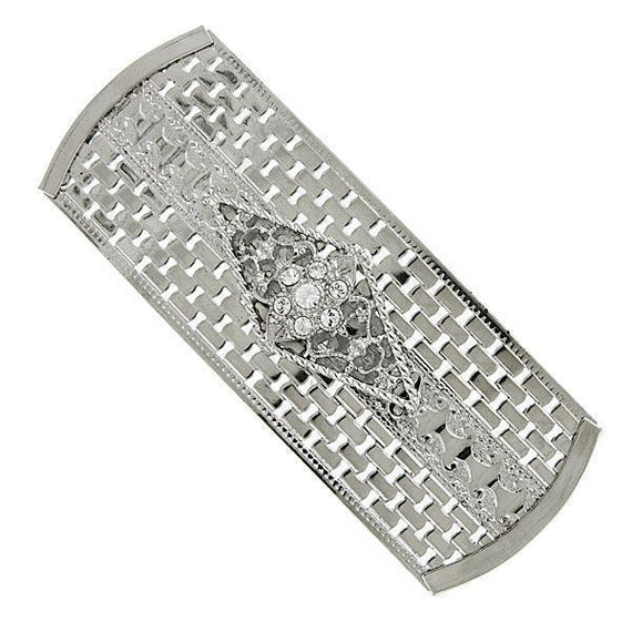 Silver-Tone Crystal Large Rectangle Barrette
