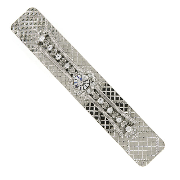 Silver Tone Crystal Bar Barrette