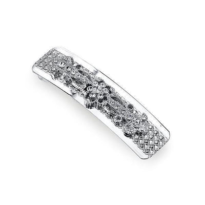 Silver-Tone Crystal Rectangle Barrette