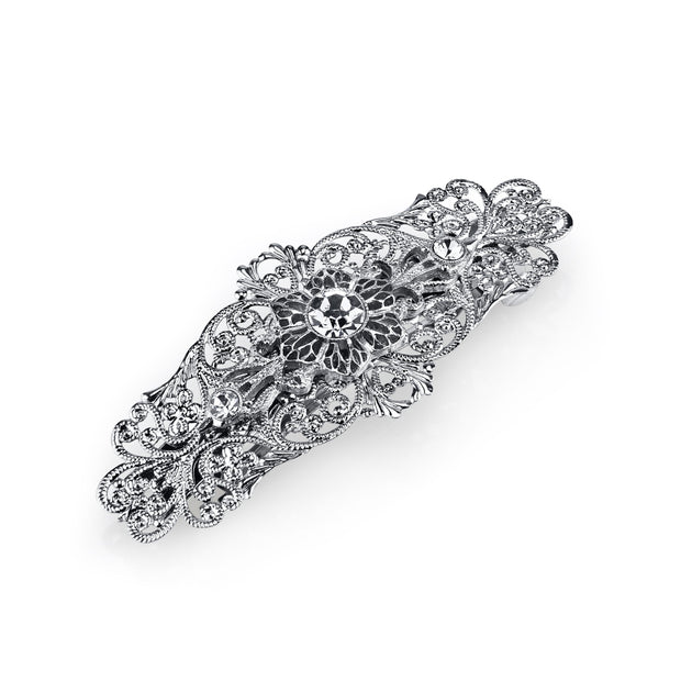 Silver Tone Crystal Filigree Bar Barrette