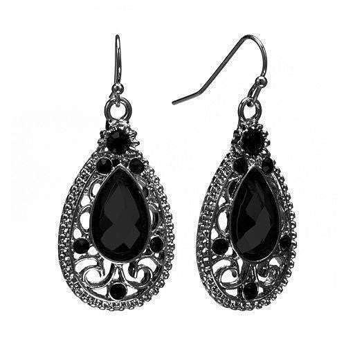 Black-Tone Black Faceted Filigree Teardrop Earrings