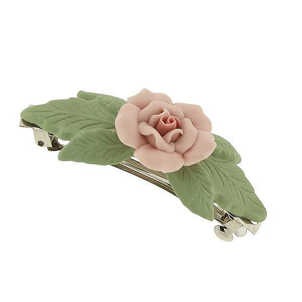 Silver Tone Genuine Porcelain Rose And Green Leaf French Hair Barrette