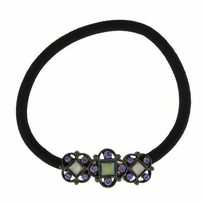 Black-Tone Blue Costume Mother Of Pearl Ponytail Holder With Purple Swarovski Crystals