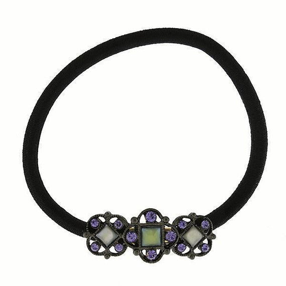 Black-Tone Blue Ponytail Holder with Purple Swarovski Crystals