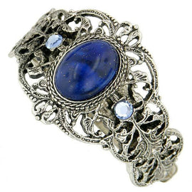 1928 Jewelry - Silver-Tone Filigree Oval Lapis Ponytail Holder