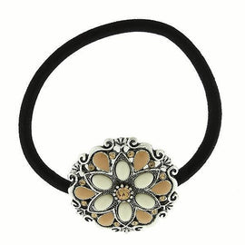 Silver-Tone Ivory Color Ponytail Holder with Swarovski Crystals