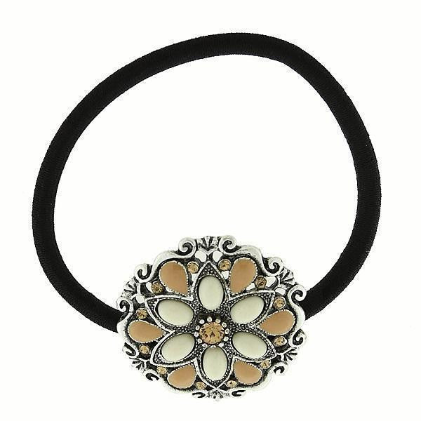 Silver-Tone Ivory Color Flower Ponytail Holder With Swarovski Crystals