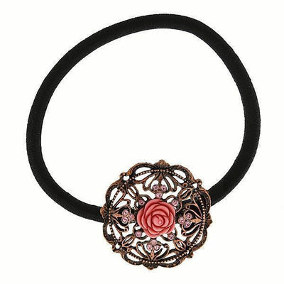 Copper Tone Carved Pink Rose Ponytail Holder With Rose Swarovski Crystals
