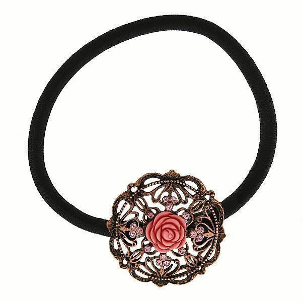 Copper-Tone Carved Pink Rose Ponytail Holder With Rose Swarovski Crystals