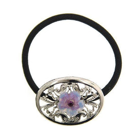 Silver-Tone Amethyst Crystal Filigree Flower Round Ponytail Holder
